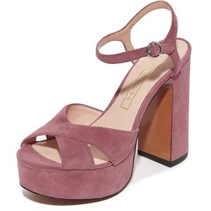 Marc Jacobs Lust Suede Platform Sandals Dusty Pink
